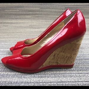 👠 Red, Patten-Leather, Cork, Wedge, Espadrilles❗️